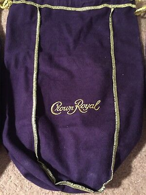Crown Royal Empty Large Purple Bags Lot of 2 Gold Drawstring Cotton/Velvet Feel
