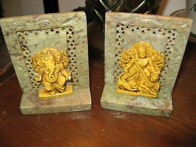 """Antique Ganesha Carved Stone & Modeled 2 Bookends, 4 1/4"""" Tall Details Beautiful"""