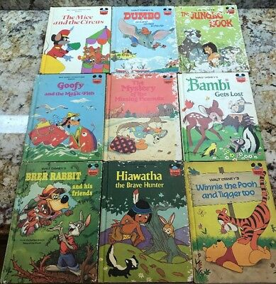 Lot of 9 Walt Disney Wonderful World Of Reading Disney Books VINTAGE