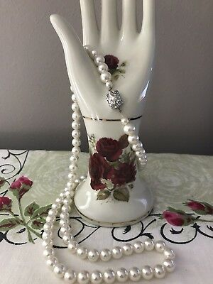 Vintage Estate Long Faux Pearl Necklace Knotted Silver Tone Rhinestone Clasp Euc