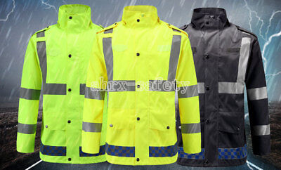 Hi-Vis Class 3 Safety Jacket Neon Reflective Bomber Coat With Pants Safety Suit
