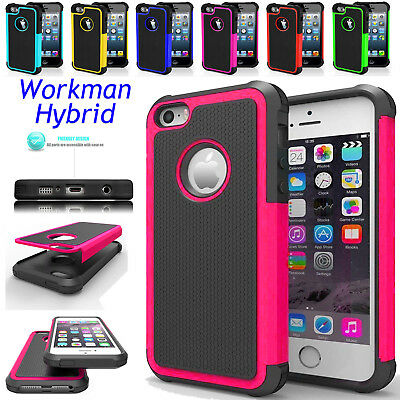 Dual Layer Protection For iPhone 4S 5S SE X Shockproof Workman Hybrid Case Cover
