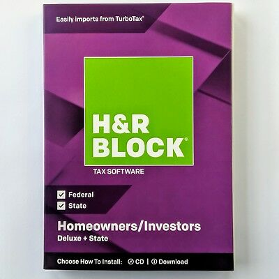 H&R BLOCK Tax Software Deluxe + State 2018 *BRAND NEW*