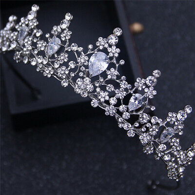 Pearl Rhinestone Tiara Hair Band Bridal Princess Crown Headband Wedding DR