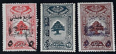 RARE 1945- Lebanon lot of 3 Coat of Arms Fiscal stamps with O/Ps Mint & Used