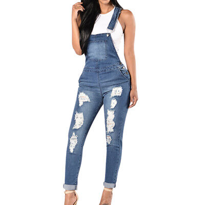 Fashion Women Straps Jumpsuit Jeans Hole Bib Pants Overalls Rompers Trousers New