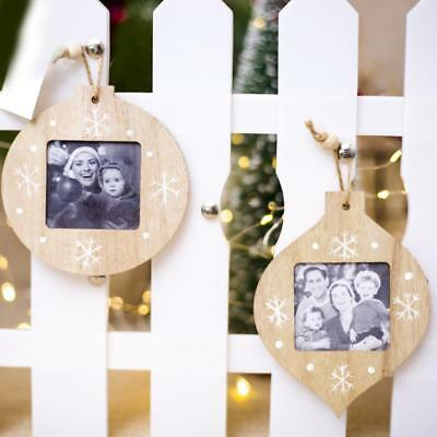 Photo frame Wooden Pendant Ornaments for Christmas Tree and Party DIY
