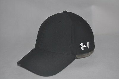 Under Armour Men's Black/White Stretch Fit Cap Curved Bill Baseball Hat M/L L/XL