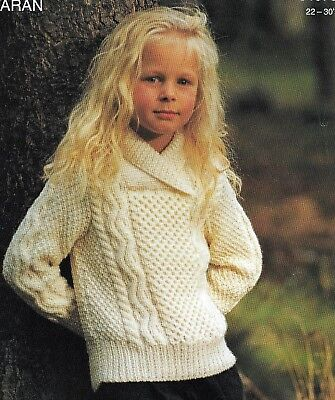 "995 Baby Girl/Boy Aran Shawl Neck Sweater 22-30"" Vintage Knitting Pattern"