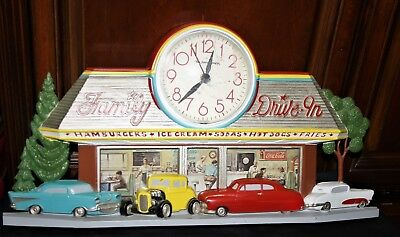 Vintage 50' style DRIVE-IN DINER WALL CLOCK w/Coca Cola logo & Old Cars BURWOOD