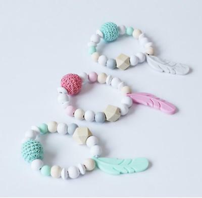 Baby wooden beads Bracelet Food grade Silicone feather Teether Baby Molar Toy