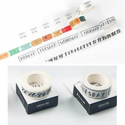 Mini 7m Washi Tape Day of The Week Student Travel DIY Typ Home Making Decor S1L3