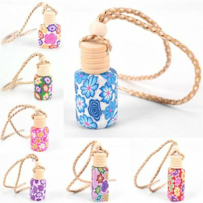 Floral Wood Style Car/Home Auto Hanging Perfume Scent Bottle Air Fresher Pendant