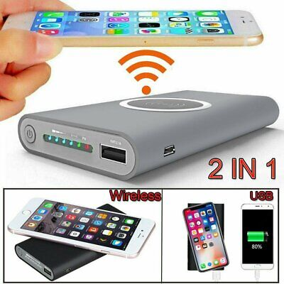 500000mah Qi Wireless Power Bank USB Pack Backup Battery Charger Fr Mobile Phone