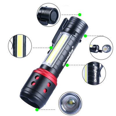 4 Modes Pocket Zoomable Q5 + COB LED Mini Flashlight 14500 Torch Lantern Lamp