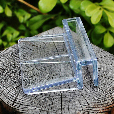 4x Aquarium Tank Clear Plastic Clips Glass Cover Strong Support Holders 6/8mm