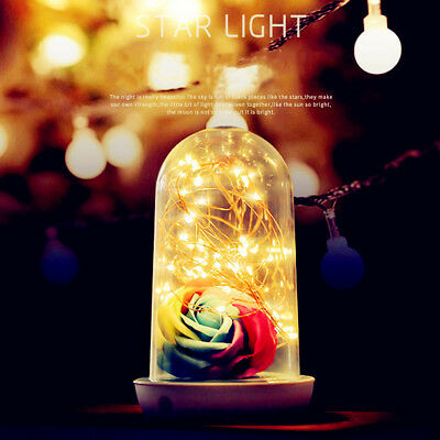 Eternal Love Preserved Artificial Rose Flowers Glass Cover with LED Light Gift