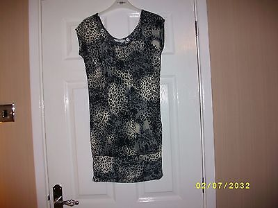 Ladies Black/Beige Animal Print Sleeveless Top Size 10 from New Look