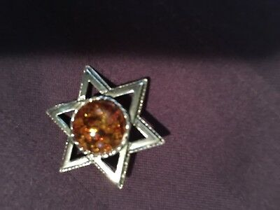 Silver Star Of David With Beautiful Round Amber Center Stone Pendant