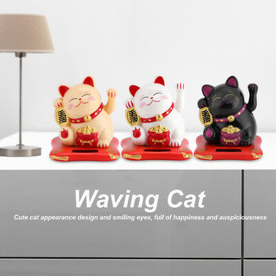 Solar Chinese Welcoming Lucky Beckoning Fortune Cat Waving Hand Fengshui Decor