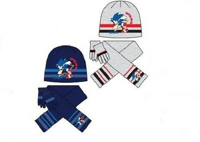 Boys Sonic The Hedgehog Hat Scarf & Gloves 3PC Kids Retro Beanie Set Age 3-10