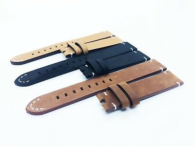 Brown/Black  Leather Vintage Strap/Band fit OMEGA watch 18 20 22mm Buckle/Clasp