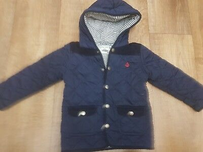 *jojo Maman Bebe Boys 3-4 Years Navy Jersey Lined Quilted Jacket Coat Cors Trim*