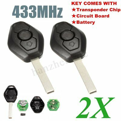 2 X 3 BTN Remote Key Fob Case W/ Battery CHIP For BMW E46 E39 3 5 7 Z3 M3 433MHz