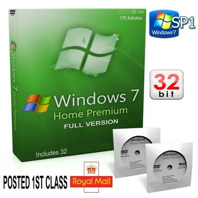 Windows 7 Home Premium 32-Bit DVD SP1 Full Version Activation CoA License key 10
