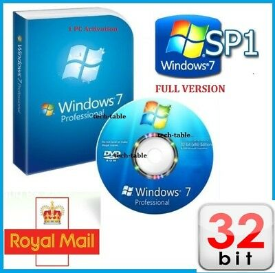Windows 7 Professional 32-Bit DVD SP1 Full Version + PRO CoA License Key 10