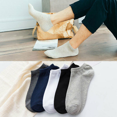 5 Pairs Mens Ankle Socks Soft Low Cut Crew Casual Sport Cotton Blend Socks Gift