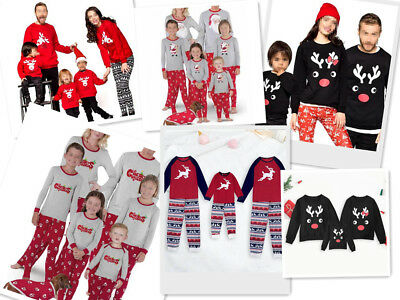 Kids Women Men Family Pjs Matching Christmas Nightwear Pyjamas Xmas Pajamas Sets