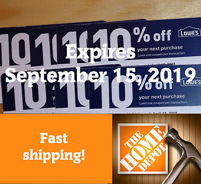 20 - Lowes 10% off  for Home Depot only Expire September 15, 2019