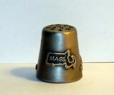 "Massachusetts Thimble, 3-D Embossed, Pewter, State Bird, Flower and Tree, 7/8"" T"