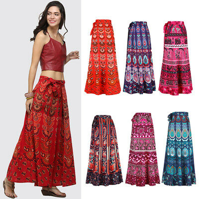 Womens Party Boho Gypsy Hippie Long Maxi Skirt Sundress Beachwear Ball Gown