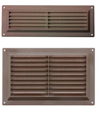 "Brown Plastic Louvre Air Vent Grille Integral Cover Three Sizes 3"" 6"" 9"""