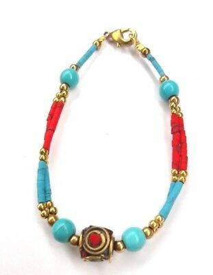 Afghan Stunning Beautiful  Howlite Turquoise coral Tiny Beads Stone Bracelet