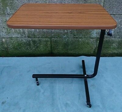 Adjustable over bed/chair overbed table tray on castors adjustable angle, height