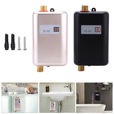3400W Electric Tankless Instant Hot Water Heater Under Sink Tap Kitchen Bathroom