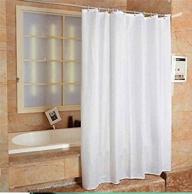Fabric Shower Curtain Plain White Ring Extra Wide Long With Hooks