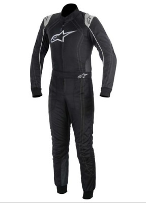 Alpinestars KMX-9 Kids Child Level 2 CIK Kart Karting Suit (Black/Silver) 120cm