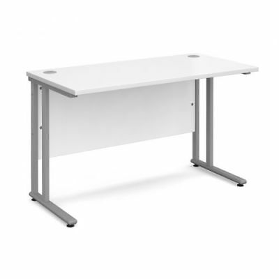 Office desk - white top, silver cantilever frame 1200mm x 600mm - 4 available