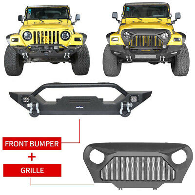 Front Black Angry Bird Grille & Bumper w/Winch Plate for Jeep Wrangler TJ 97-06