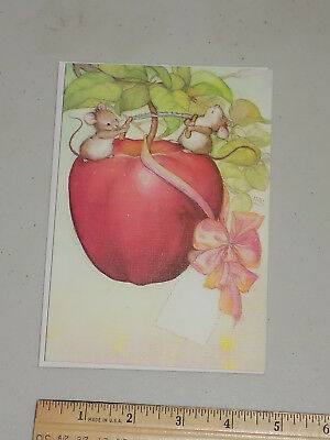 """Collectible Lisi Martin unused Birthday card """"Little Mice and Apple for Gift"""""""
