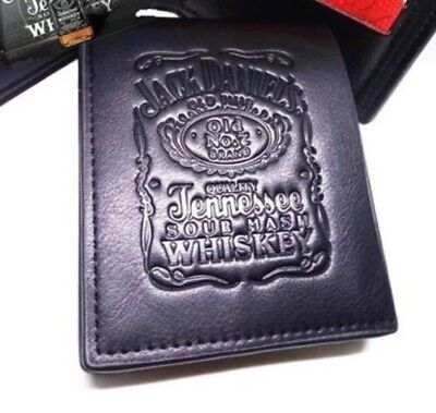 Black Leather Wallet - Jack Daniels Designer Logo Wallet - Credit Cards and Cash