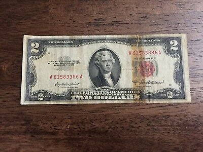 Series of 1953 Two Dollar $2 Bill *Red Seal* United States Currency