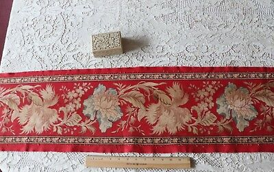 Antique Turkey Red French Indienne Border Print Cotton Fabric Yardage~5ydsX10""