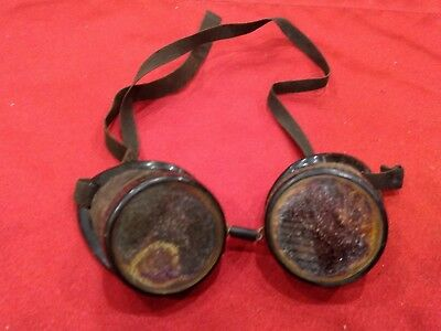 Vintage Willson ? Safety Goggles Glasses Welding Aviator Motorcycle Rat Rod
