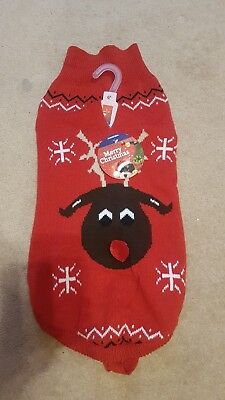 Christmas Xmas Warm Cosy Dog Jumper Sweater Reindeer Cute Gift