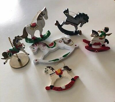 Vtg Lot of 6 Xmas Ornaments Wooden Rocking Horses And One Carousel Horse.